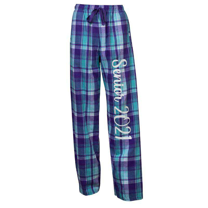 Women's Class of 2021 Flannel Pajama Pants, Purple/Turquoise