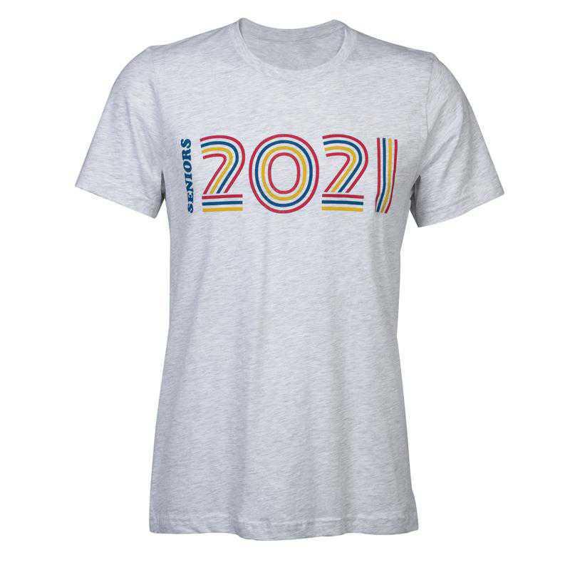 Rainbow Multiline Seniors 2021 T-Shirt, Heather Gray