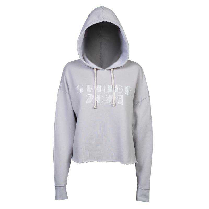 Women's Seniors 2021 Eco-Friendly Cropped Fleece Hoodie, Gray