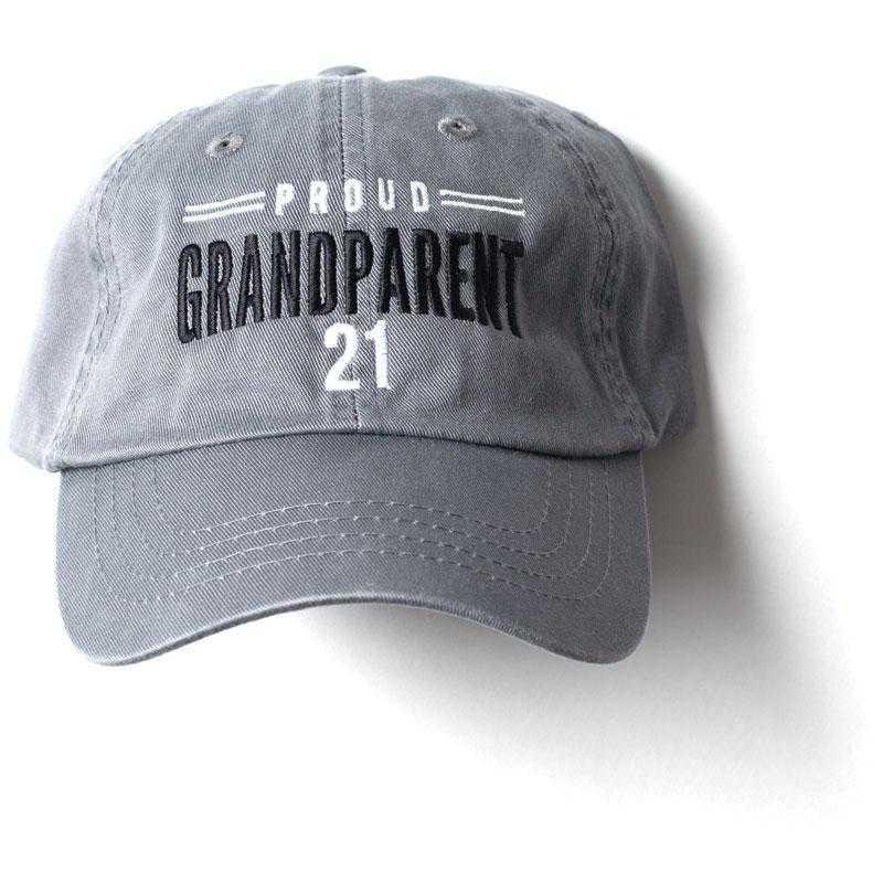 K022484: Proud Grandparent Class of 2021 Baseball Hat, Grey