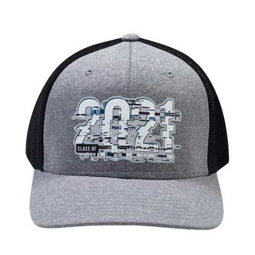K022482: Class of 2021 Glitch Flexfit Trucker Hat, Heather Grey/Black