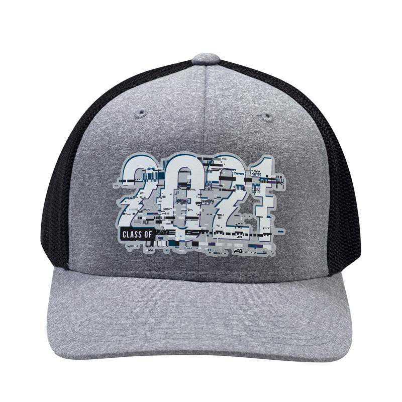 K022482: Class of 2021 Glitch Flexfit Trucker Hat, Heather Grey/Black