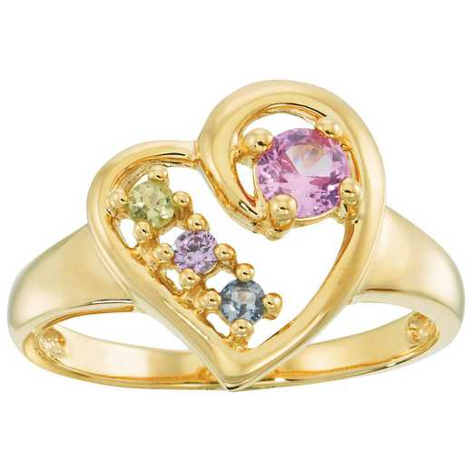 Heart-Shaped Ring with 4-Stones: Inamorata Quick Ship