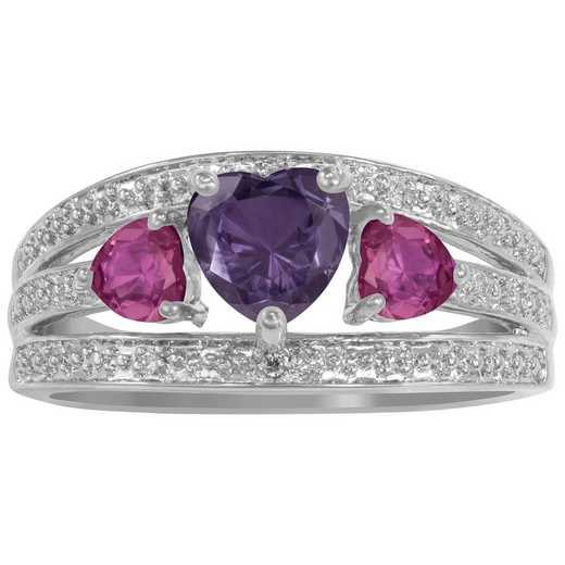 Women's Triple Heart Birthstone Ring - Incomparable