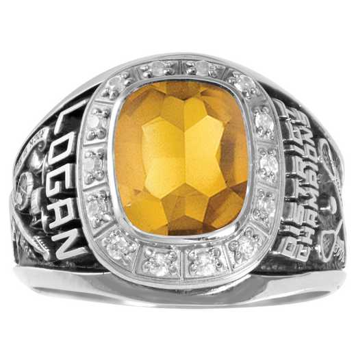 Men's Medium Class Ring with Cushion-Cut Stone and CZ or Diamonds- Intrepid Prestige