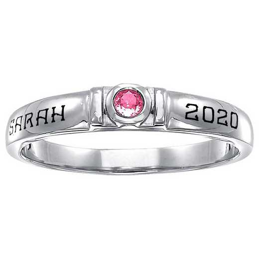 Women's Personalized Round Birthstone Stackable Ring: Irresistible