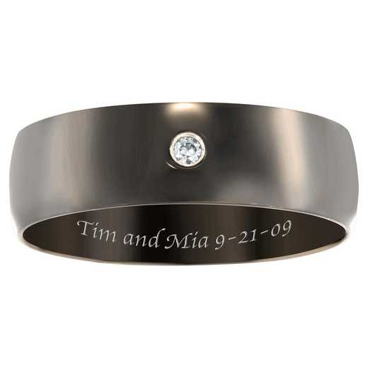 Men's Dark-Tone Stainless-Steel Band with Cubic Zirconia: Jet