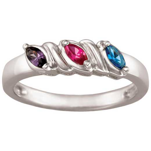 Mother's Three-Stone Marquise Birthstone Ring: Julia Quick Ship