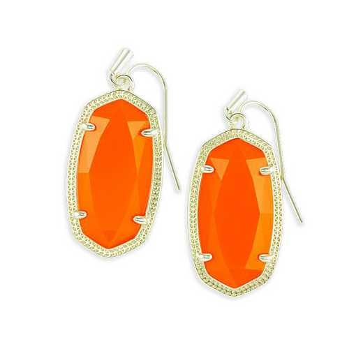 KSDAN-EAR:Womens Fashion Earrings GOLD/ORANGE OPAQUE GLASS