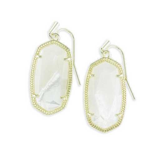 KSDAN-EAR:Womens Fashion Earrings GOLD/IVORY MOP