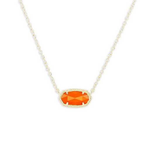 KSELI-NEC:Womens Fashion Necklace GOLD/ORANGE OPAQUE GLASS