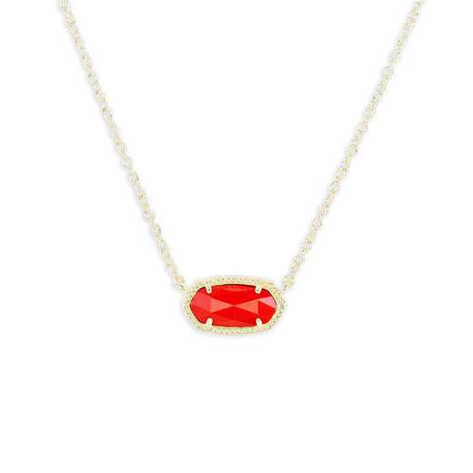 KSELI-NEC:Womens Fashion Necklace GOLD/BRIGHT RED OPAQUE GLASS