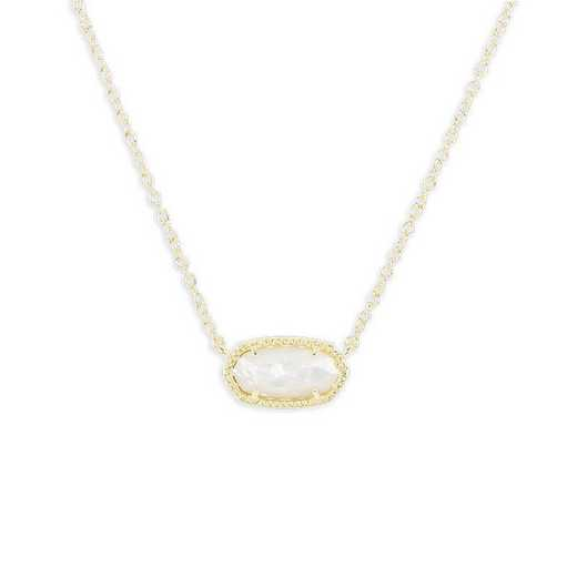 KSELI-NEC:Womens Fashion Necklace GOLD/IVORY MOP