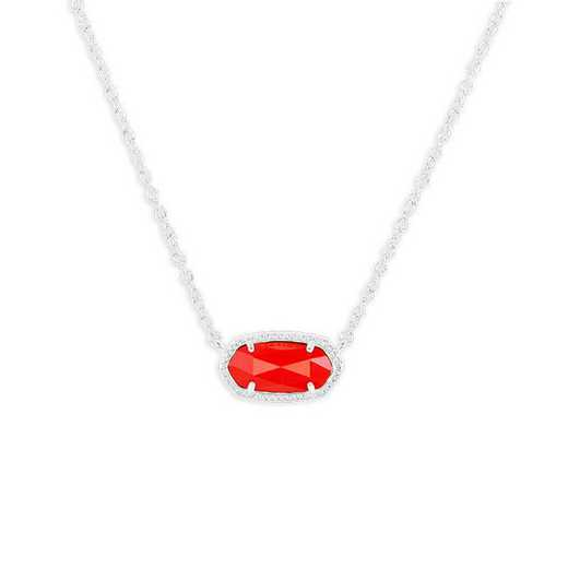 KSELI-NEC:Womens Fashion Necklace RHODIUM/BRIGHT RED OPAQUE GLASS