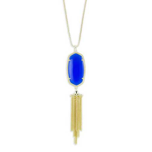 KSRAY-NEC:Womens Fashion Necklace GOLD/COBALT BLUE