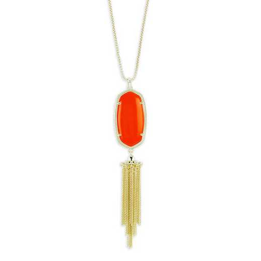 KSRAY-NEC:Womens Fashion Necklace GOLD/ORANGE OPAQUE GLASS