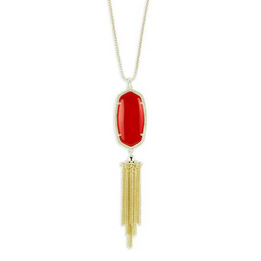 KSRAY-NEC:Womens Fashion Necklace GOLD/BRIGHT RED OPAQUE GLASS