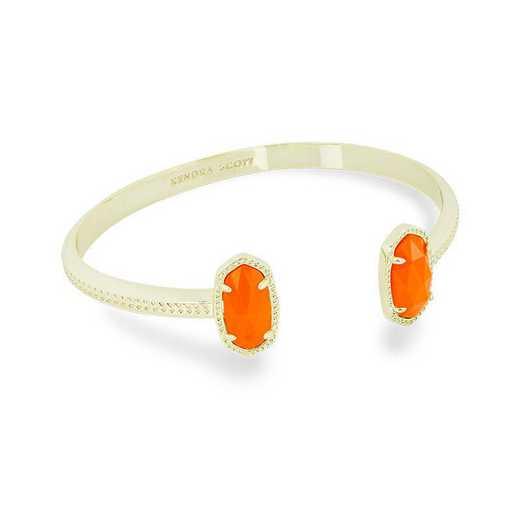 KSELT-BRA:Womens Fashion Bracelet GOLD/ORANGE OPAQUE GLASS