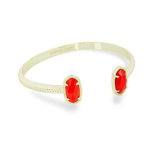 KSELT-BRA:Womens Fashion Bracelet GOLD/BRIGHT RED OPAQUE GLASS