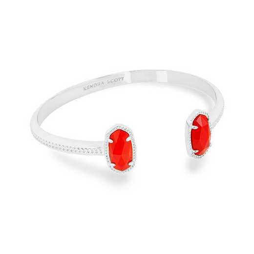 KSELT-BRA:Womens Fashion Bracelet RHODIUM/BRIGHT RED OPAQUE GLASS