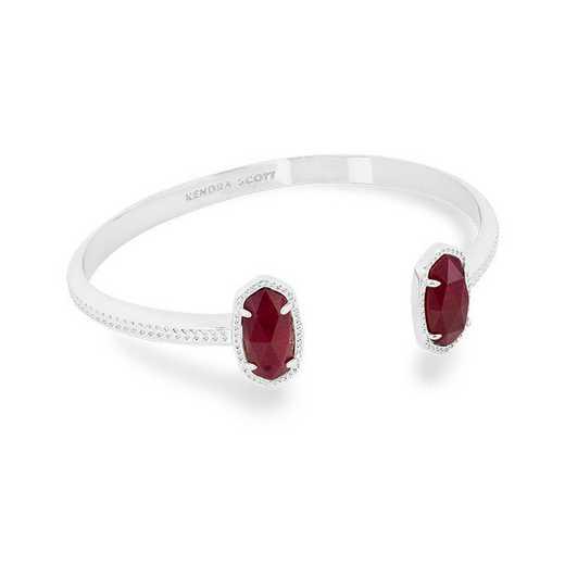 KSELT-BRA:Womens Fashion Bracelet RHODIUM/MAROON JADE