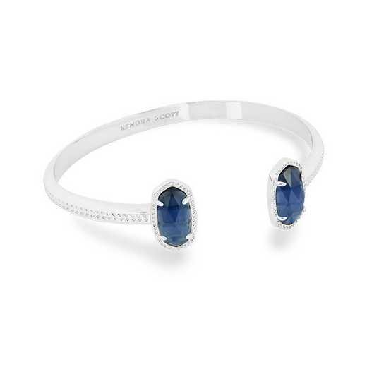 KSELT-BRA:Womens Fashion Bracelet RHODIUM/NAVY CATS EYE