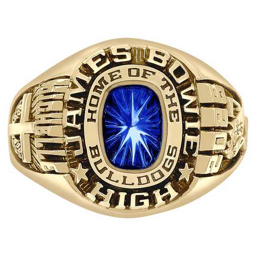 Women's Class Ring with Mascot Name and Cusion-Cut Stone - Patriot