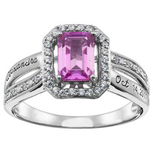 Women's Emerald-Cut Birthstone Fashion Promise Ring: Lauren