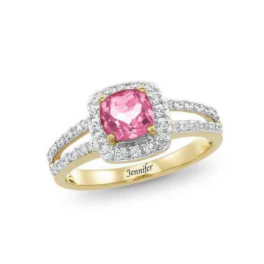 Women's Cushion-Cut Halo Birthstone Ring - Lithe