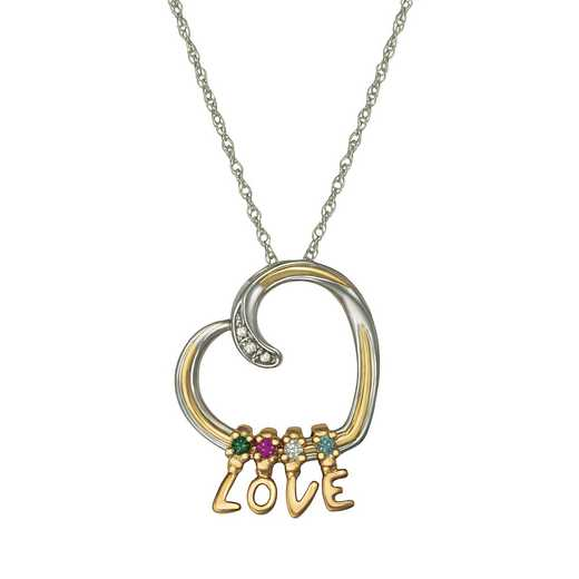 Women's Heart Necklace with LOVE charms and 4 stones - Love Notes