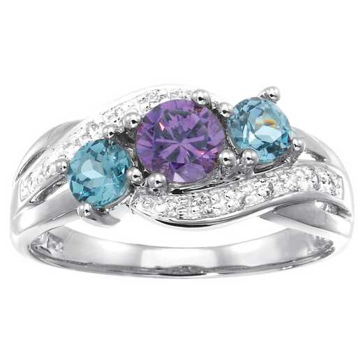 Ladies' Family Ring with Three Birthstones and Cubic Zirconia: Loved