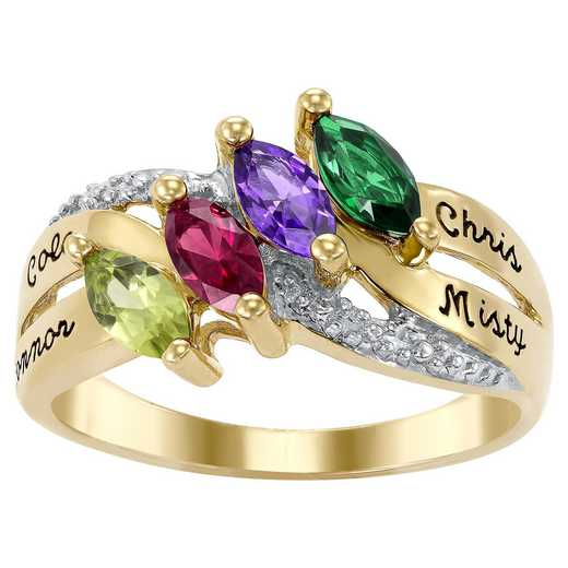 Ladies' Family Ring with Four Marquise-Cut Birthstones: Lustre