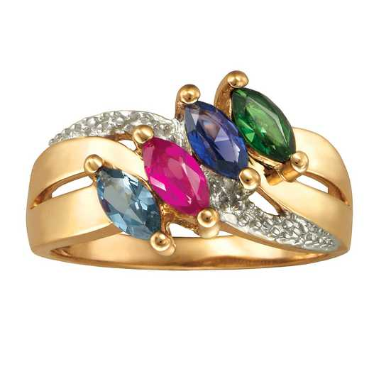 Ladies' Family Ring with Four Marquise-Cut Birthstones: Lustre Quick Ship