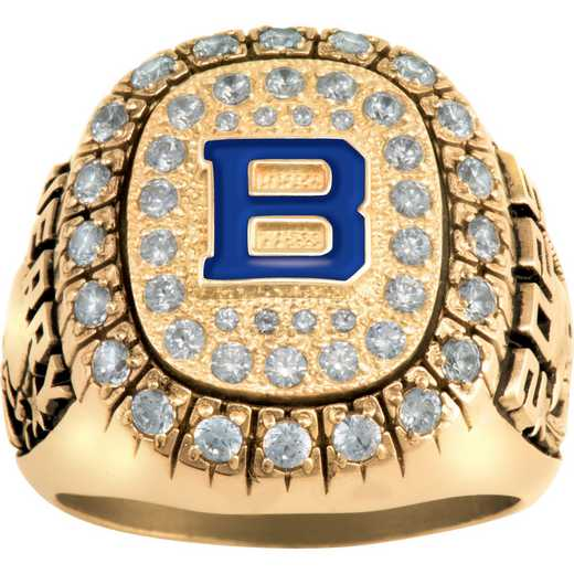 Men's Enameled Letter Class Ring with Cubic Zirconia - Monogram Patriot