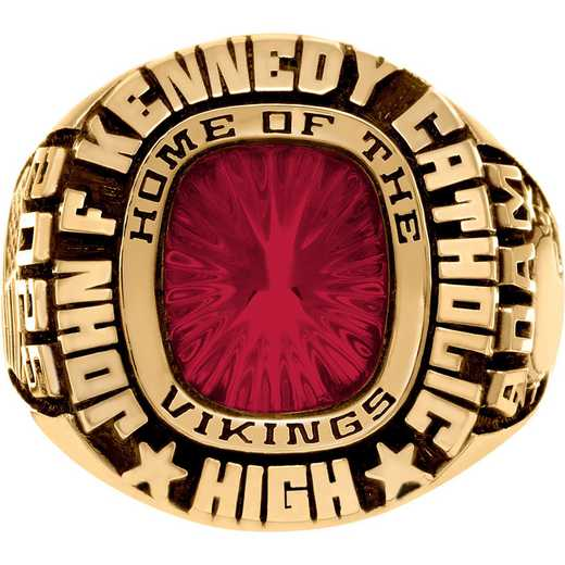Men's Class Ring with Mascot Name and Cusion-Cut Stone - Patriot