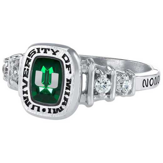 University of Miami Women's Highlight Ring with Cubic Zirconias