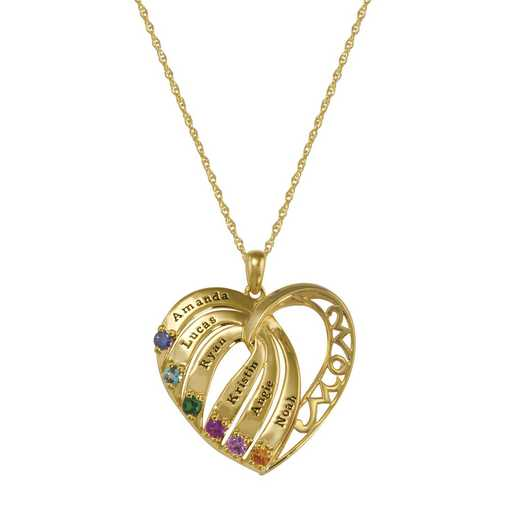 Mother's Six-Stone Heart Flow Pendant