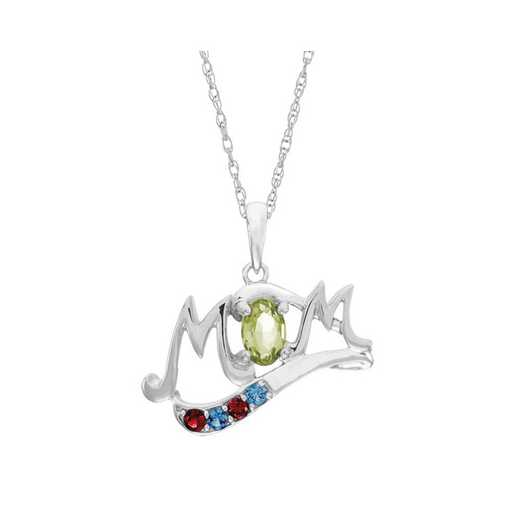 Mom Pendant with Oval Birthstone, 1-4 Accent Stones and Name