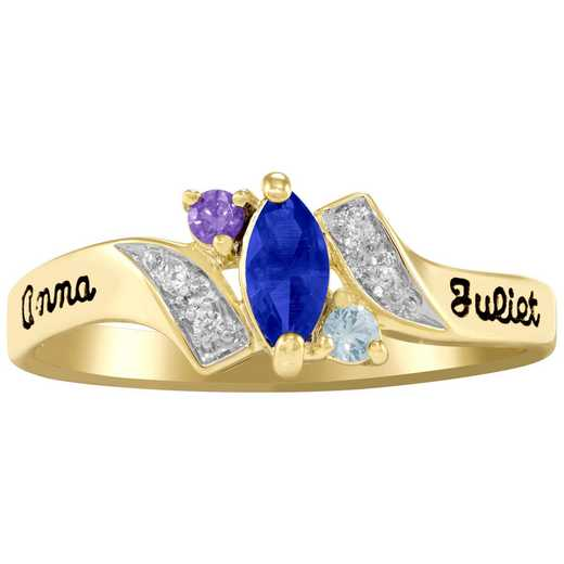 Ladies' Triple Birthstone Promise Ring with Cubic Zirconia Accents: One Love