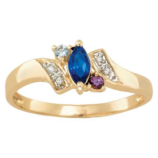 Ladies' Triple Birthstone Promise Ring: One Love Quick Ship