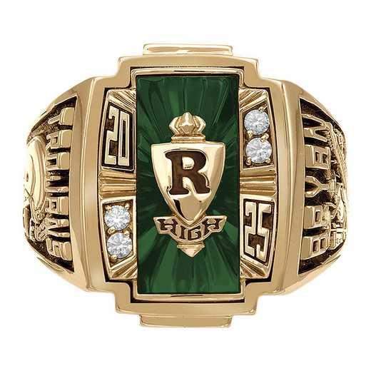 Men's Art Deco Class Ring with Diamonds or Cubic Zirconia - Ovation