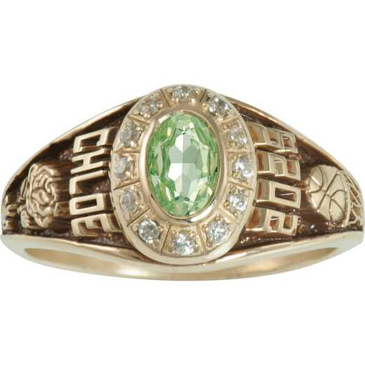 Women's Small Traditional Class Ring with Birthstone and Diamond or CZ: Petite Prestige