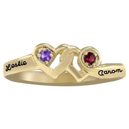 Ladies' Double Heart Birthstone Ring: Promises of Love