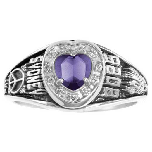 Women's Class Ring with Heart-Shaped Birthstone and Diamonds or CZ - Regal Prestige