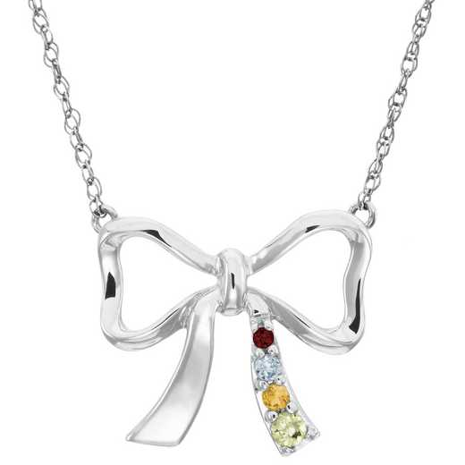 Women's Ribbon Pendant with 1-4 Stones and Engraving