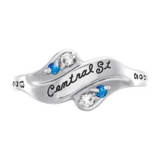 University of California at Riverside Women's Seawind Ring with Diamonds and Birthstone College Ring