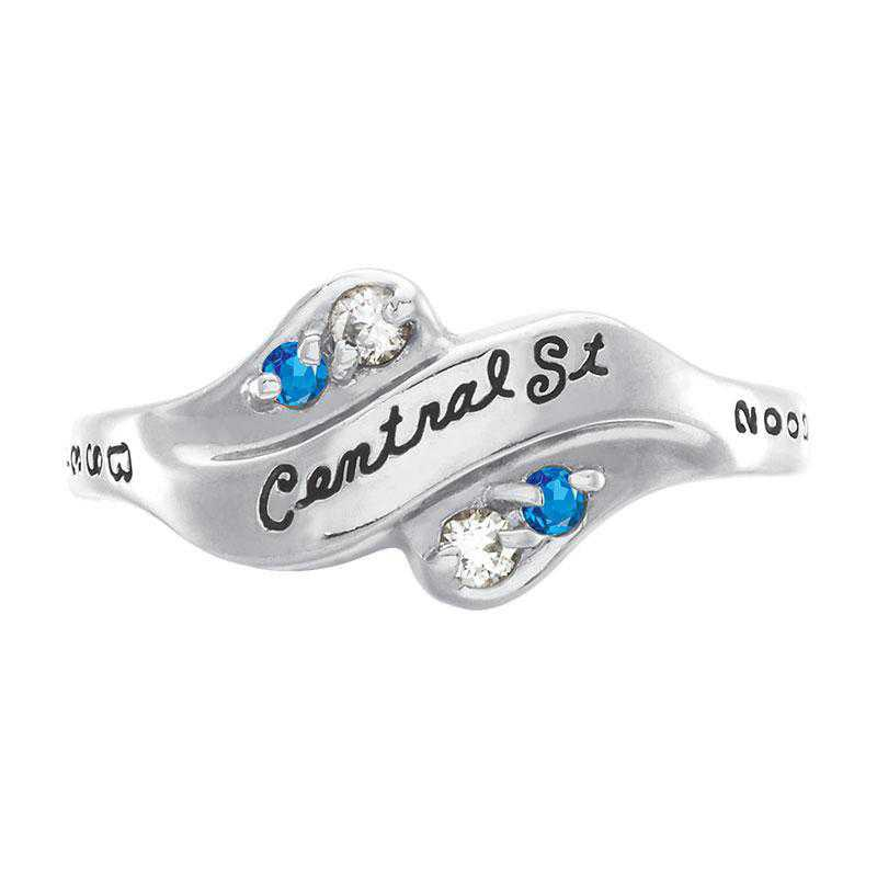 Women's Seawind Ring with Diamonds and Birthstone