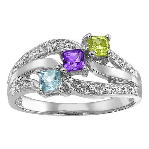 Women's Three-Stone Family Ribbon Ring: Shine