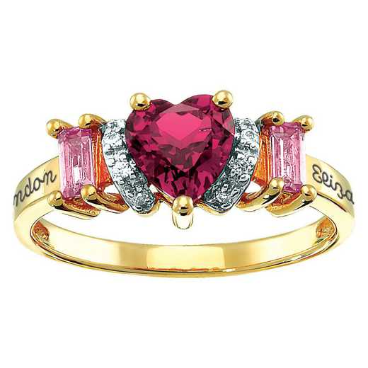 Couples' Ring with Three Birthstones and Cubic Zirconia Accents: Smitten