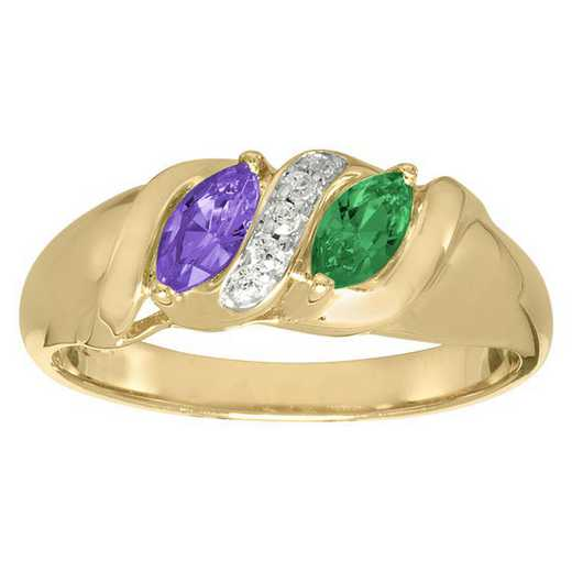 Ladies' Double Marquis-Cut Birthstone Ring with Cubic Zirconia: Songs of Life